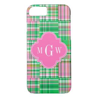 Emerald Hot Pink Preppy Patchwork Madras Monogram iPhone 7 Case