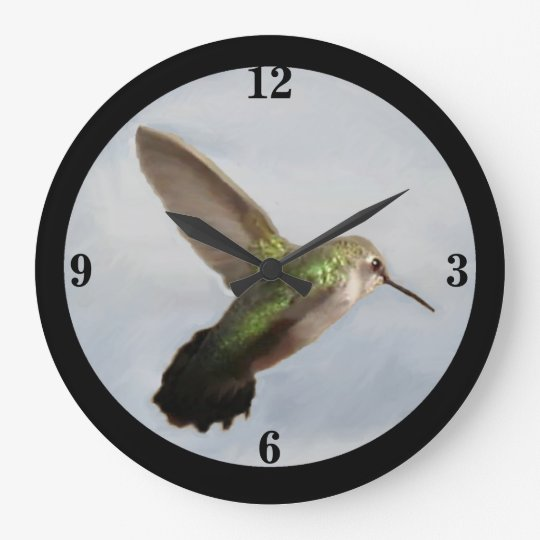 Emerald Hummingbird Wall Clock-Blue/Black/Green Large Clock