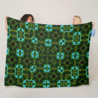 Emerald Magic Turtle Shell Mandala Satin Fleece Blanket
