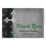 Emerald Mediaeval Celtic Cross Thank You Card