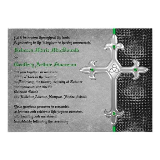 Emerald Medieval Celtic Cross Wedding Invitation