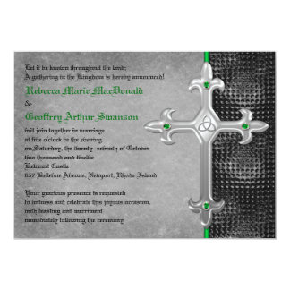 Emerald Medieval Celtic Cross Wedding Invitation