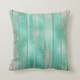Emerald Mint Green Metallic Wood Grungy Maroon Cushion