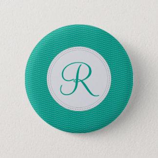 Emerald Monogram Thin Chevron Pattern 6 Cm Round Badge