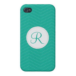 Emerald Monogram Thin Chevron Pattern Cases For iPhone 4