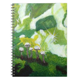 Emerald Mushrooms Spiral Note Books