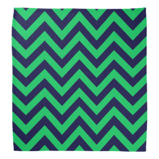 Emerald, Navy Blue Large Chevron ZigZag Pattern Bandana
