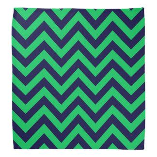 Emerald, Navy Blue Large Chevron ZigZag Pattern Do-rag