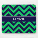 Emerald Navy LG Chevron Navy Blue Name Monogram Mouse Pad