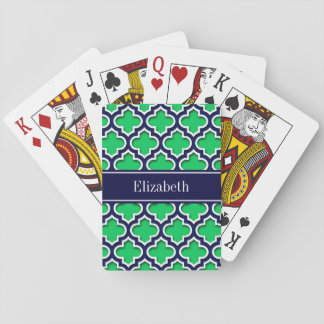 Emerald Navy Moroccan #5DS Navy Name Monogram Playing Cards