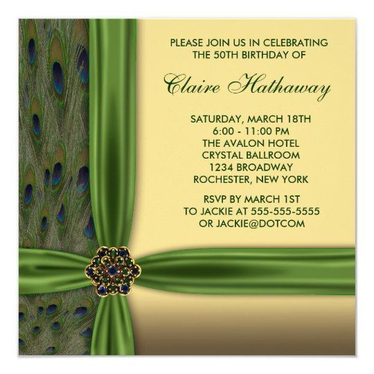 Emerald Peacock Gold 50th Birthday Invitations