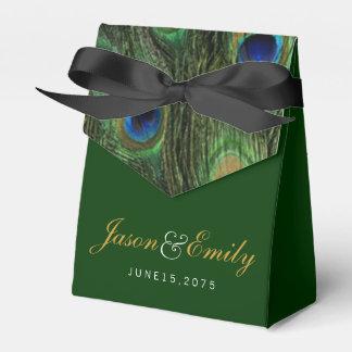 Emerald Peacock Wedding Favour Box