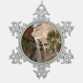 Emerald Pool Falls I from Zion National Park Pewter Snowflake Decoration