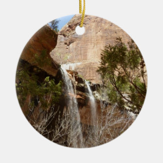 Emerald Pool Falls I from Zion National Park Round Ceramic Decoration