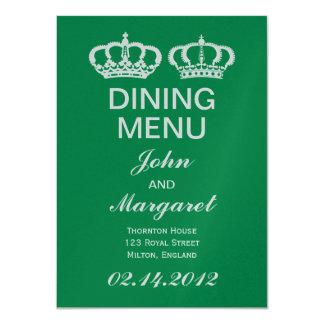 Emerald Royal Couple Dining Menu 11 Cm X 16 Cm Invitation Card