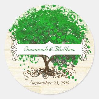 Emerald Swirl Heart Leaf Tree Wedding Seal Round Sticker