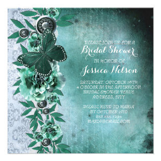 Emerald Vintage Damask Butterfly Bridal Shower Custom Announcements