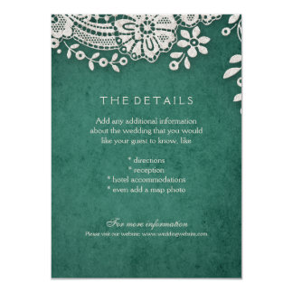 Emerald vintage lace rustic weddng details card