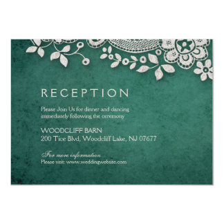 Emerald vintage lace rustic weddng reception card