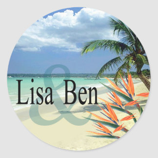 Emerald Waters Tropical Beach Classic Round Sticker