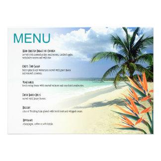 Emerald Waters Tropical Beach Wedding Menu | aqua Custom Invites