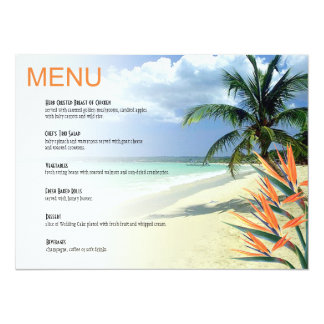 Emerald Waters Tropical Beach Wedding Menu papaya 14 Cm X 19 Cm Invitation Card