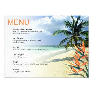 Emerald Waters Tropical Beach Wedding Menu papaya Personalized Invitation