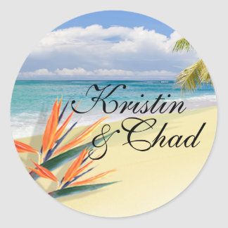 EMERALD WATERS Tropical Beach Wedding Round Sticker