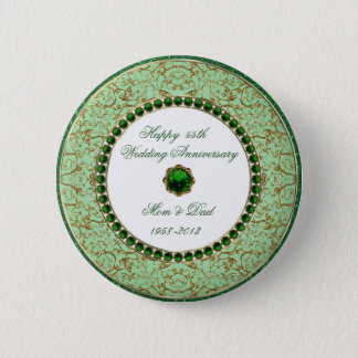 Emerald Wedding Anniversary Button