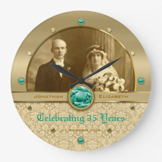Emerald Wedding Anniversary Green Gem Damask Photo Clock