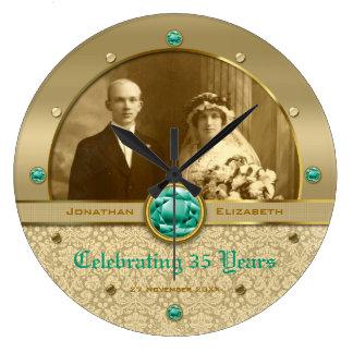 Emerald Wedding Anniversary Green Gem Damask Photo Large Clock