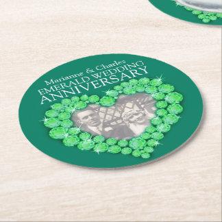 Emerald wedding anniversary heart photo coasters