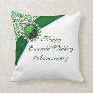 Emerald Wedding Anniversary Throw Pillow