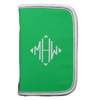Emerald White 3 Initials Diamond Shape Monogram Organizers
