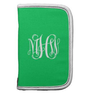 Emerald White 3 Initials Vine Script Monogram Organizers