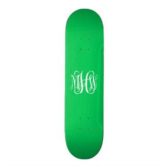 Emerald White 3 Initials Vine Script Monogram Skate Deck
