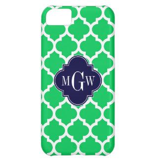 Emerald White Moroccan #5 Navy 3 Initial Monogram iPhone 5C Case
