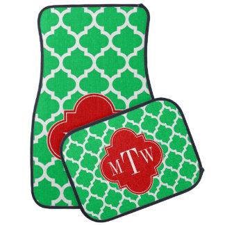 Emerald White Moroccan #5 Red 3 Initial Monogram Car Mat