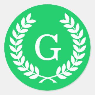 Emerald White Wheat Laurel Wreath Initial Monogram Classic Round Sticker
