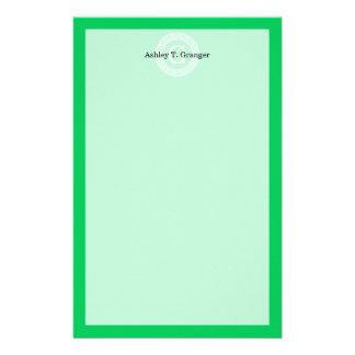 Emerald Wht Greek Key Rnd Frame Initial Monogram Personalized Stationery