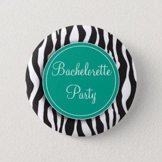 Emerald Zebra Print Bachelorette Party Button