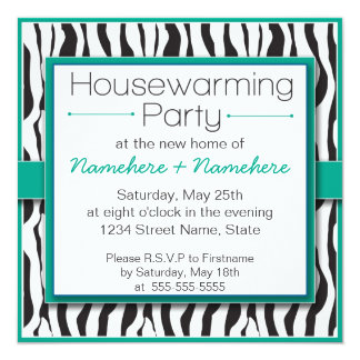 Emerald Zebra Print Housewarming Party Invitations