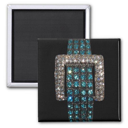 Emeralds and Diamonds Art Bling Bling Square Magnet