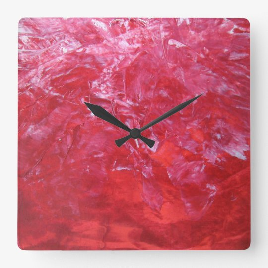 Emerge Red Carnation Floral White Abstract Art Square