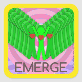 EMERGE - square sticker by Hoshi Hana & Kim Jordan