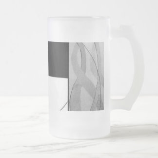 Emergence Black and White Abstract Glass Beer Mug