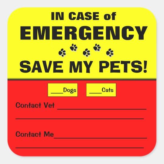 Emergency Alert Save My Pets Stickers