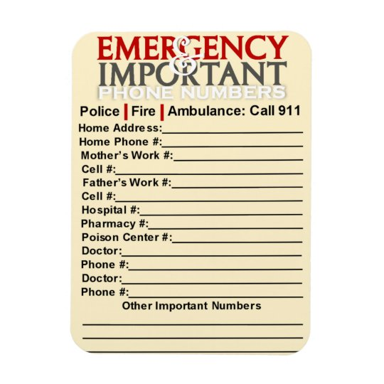 "Emergency and Important phone numbers 3""x4"" magnet"