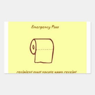 Emergency bathroom pass gag gift sticker