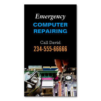 Emergency Computer Repairing Maintenance PC Master Magnetic Business Cards